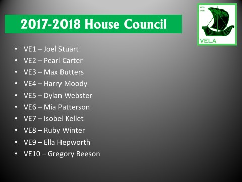 Vela House Prefects for 2016/2017